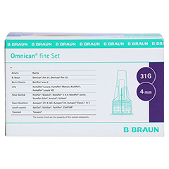 OMNICAN fine Set Pen Kanüle 0,25x4 mm a 100St 1 Packung - Vorderseite