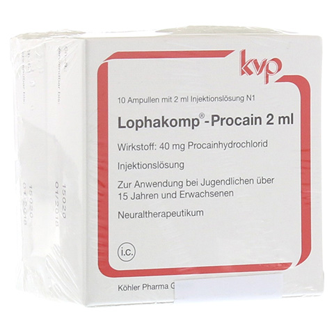 LOPHAKOMP Procain 2 ml Injektionslösung 20x2 Milliliter N2