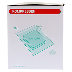 MULLKOMPRESSEN 7,5x7,5 cm steril 8fach 50x2 Stück - Linke Seite