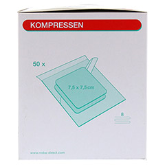 MULLKOMPRESSEN 7,5x7,5 cm steril 8fach 50x2 Stück - Rechte Seite