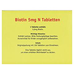 BIOTIN 5 mg N Tabletten 150 Stück - Rückseite