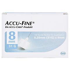 ACCU FINE sterile Nadeln f.Insulinpens 8 mm 31 G 100 Stück - Vorderseite
