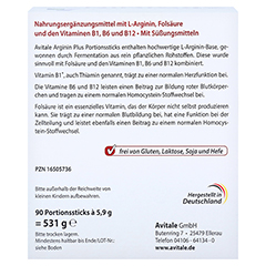 ARGININ PLUS Vitamin B1+B6+B12+Folsäure Sticks 90x5.9 Gramm - Rückseite