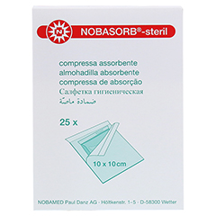 NOBASORB-steril Saugkompressen 10x10 cm P1 25 Stück - Rückseite