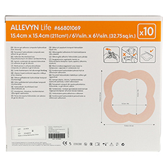 ALLEVYN Life 15,4x15,4 cm Silikonschaumverband 10 Stück - Rückseite
