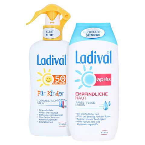LADIVAL Kinder Sonnenschutz Spray LSF 50+ + gratis Ladival Empfindliche Haut Apres Lotion 200 ml 200 Milliliter