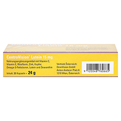 CENTROVISION Lutein 15 mg Kapseln 30 Stück - Oberseite