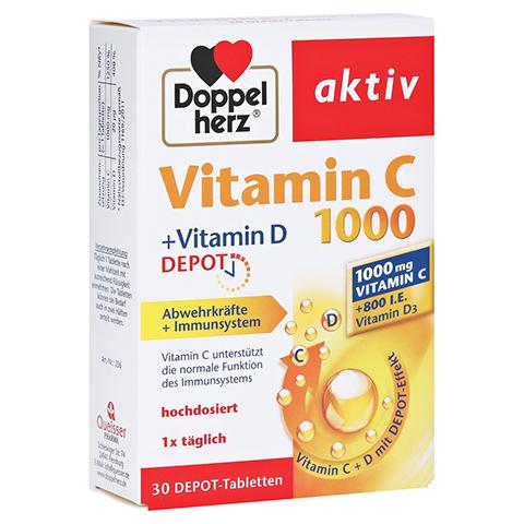 DOPPELHERZ Vitamin C 1000+Vitamin D Depot aktiv 30 Stück