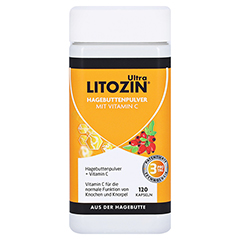 Litozin Ultra Hagebuttenpulver + Vitamin C 120 Stück - Vorderseite