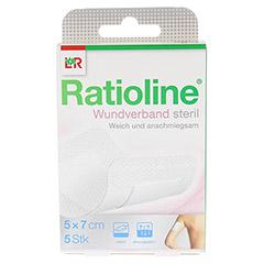 RATIOLINE Wundverband 5x7 cm steril 5 Stück - Vorderseite