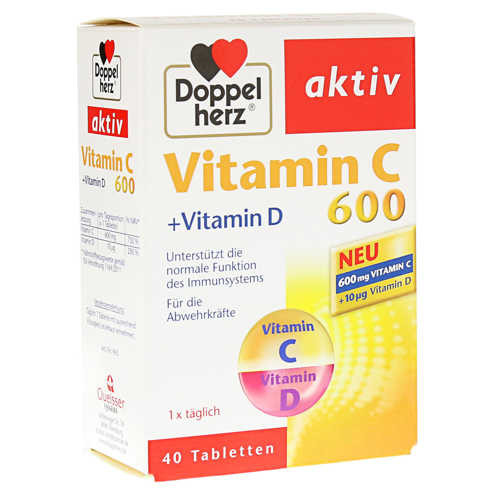 doppelherz vitamin c 600 vitamin d tabletten 40 st ck. Black Bedroom Furniture Sets. Home Design Ideas