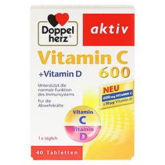 DOPPELHERZ Vitamin C 600+Vitamin D Tabletten 40 Stück - Vorderseite