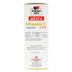 DOPPELHERZ Vitamin C 600+Vitamin D Tabletten 40 Stück - Linke Seite
