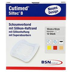 CUTIMED Siltec B Schaumverb.10x10 cm m.Haftr. 12 Stück - Vorderseite