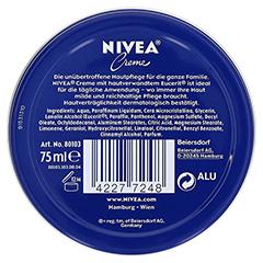 NIVEA CREME Dose 75 Milliliter - Rückseite