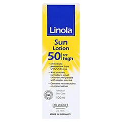 Linola Sonnen-hautmilch LSF 50 100 Milliliter - Rückseite