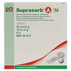 SUPRASORB A+Ag Antimik.Cal.Alginat Tamp.30 cm 2 g 5 Stück - Vorderseite