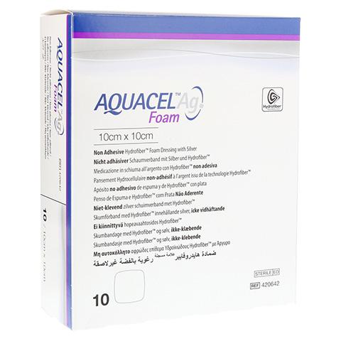 AQUACEL Ag Foam nicht adhäsiv 10x10 cm Verband 10 Stück