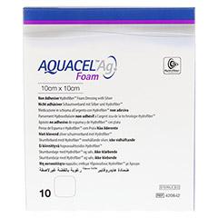 AQUACEL Ag Foam nicht adhäsiv 10x10 cm Verband 10 Stück - Vorderseite