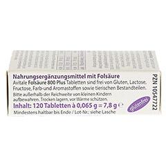 FOLSÄURE 800 Plus B12+Jod Tabletten 120 Stück - Linke Seite