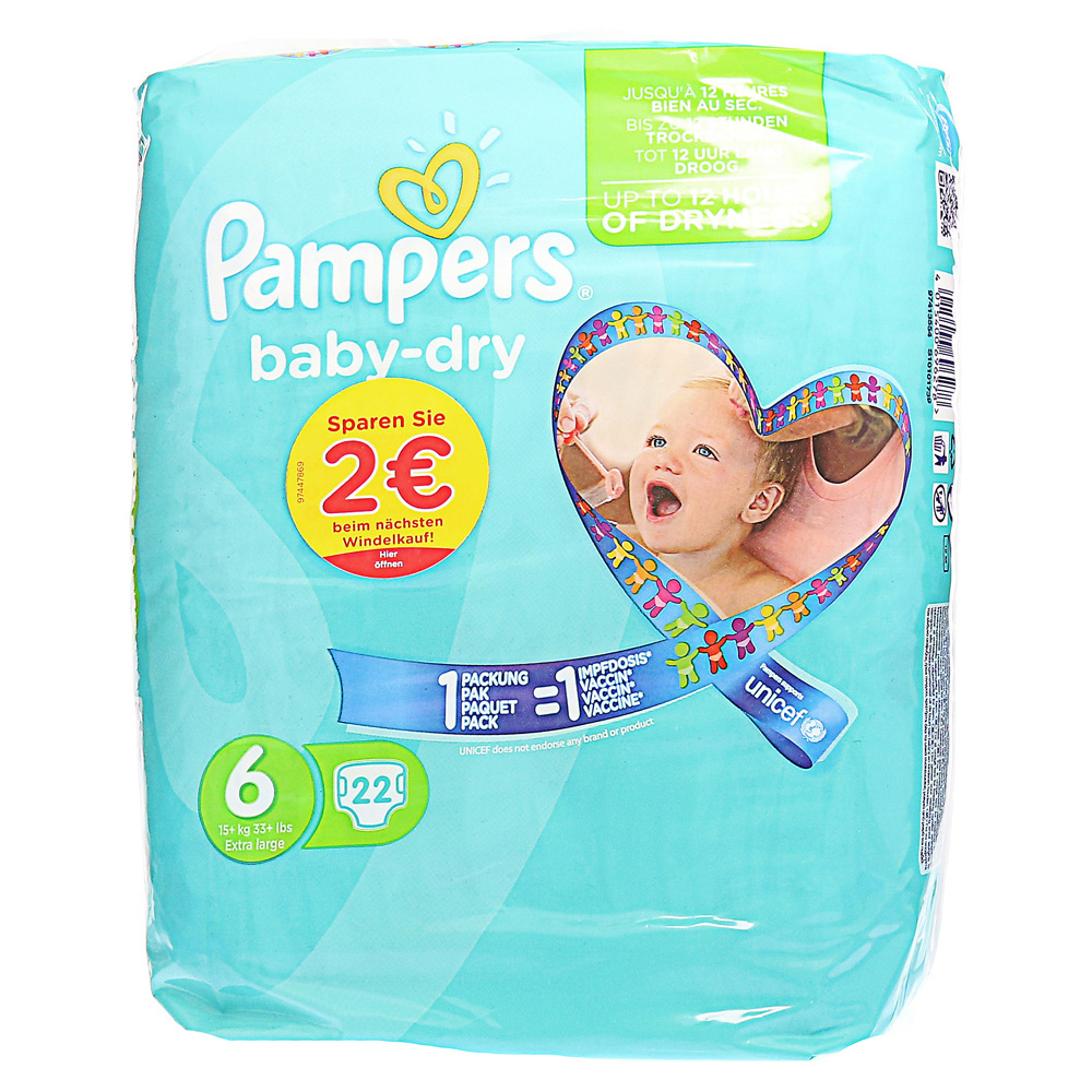 pampers baby dry gr 6 extra large 15 kg sparpack 22 st ck online bestellen medpex versandapotheke. Black Bedroom Furniture Sets. Home Design Ideas