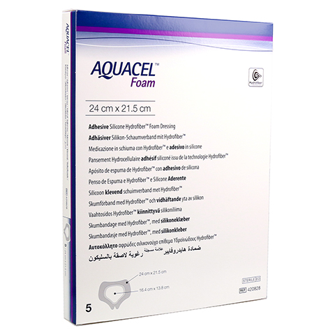AQUACEL Foam adhäsiv Sakral 21,5x24 cm Verband 5 Stück