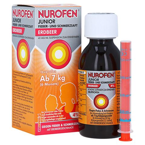 Nurofen Junior Fieber- und Schmerzsaft Erdbeer 40mg/ml 150 Milliliter N2