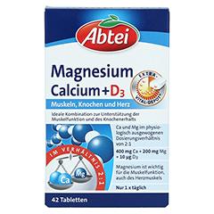 Abtei Magnesium Calcium + D3 Depot Tabletten 42 Stück - Vorderseite