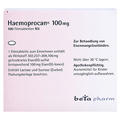 Haemoprocan 100mg 100 Stück N3 - Rückseite