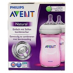 AVENT Flasche 260 ml Naturnah rosa 2 Stück - Vorderseite