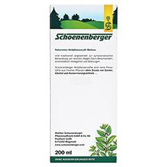 Melisse naturreiner Heilpflanzensaft Schoenenberger 200 Milliliter - Rückseite