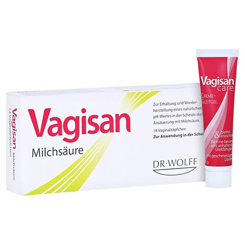 Vagisan Milchsäure Vaginalzäpfchen + gratis VagisanCare Creme-Gleitgel 10g 14 Stück