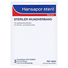 HANSAPOR steril Wundverband 6x7 cm 3 Stück - Vorderseite