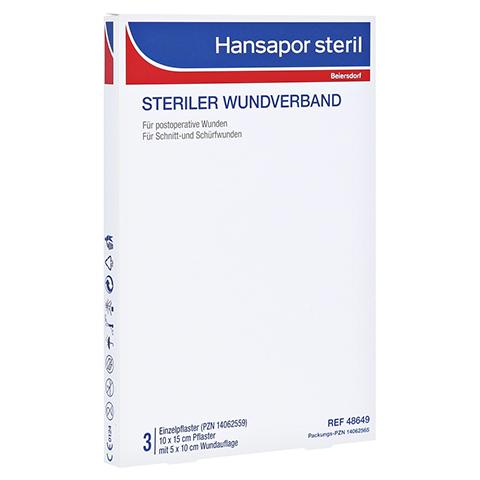 HANSAPOR steril Wundverband 10x15 cm 3 Stück