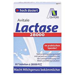 Lactase 28.000 FCC Tabletten im Spender 80 Stück - Vorderseite