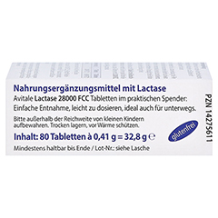 Lactase 28.000 FCC Tabletten im Spender 80 Stück - Linke Seite