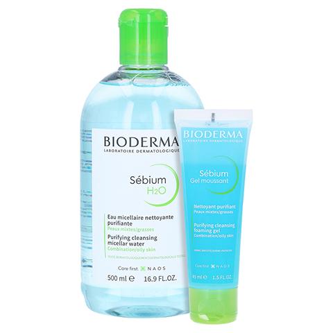 Bioderma Sebium H2O Reinigungslösung + gratis Sebium Gel Moussant 45 ml 500 Milliliter
