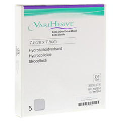 VARIHESIVE extra d�nn 7,5x7,5 cm HKV hydroaktiv 5 St�ck