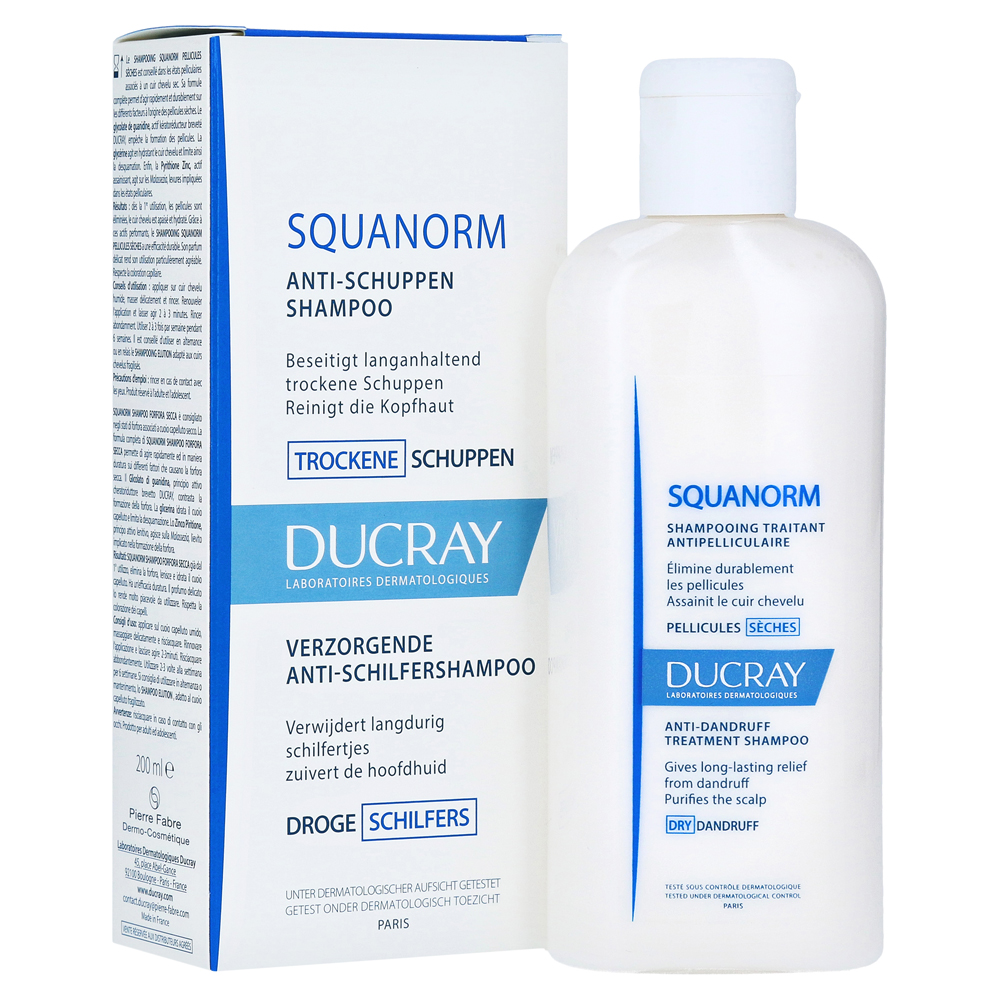 erfahrungen zu ducray squanorm trockene schuppen shampoo 200 milliliter medpex versandapotheke. Black Bedroom Furniture Sets. Home Design Ideas