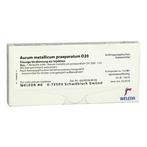 AURUM METALLICUM PRAEPARATUM D 20 Ampullen 8 Stück N1
