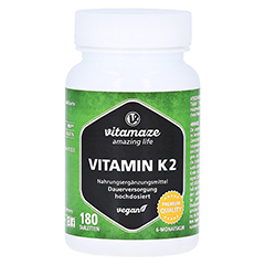 VITAMIN K2 200 µg hochdosiert vegan Tabletten 180 Stück