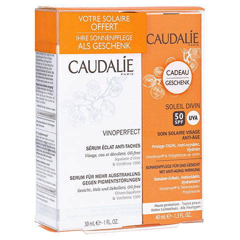 CAUDALIE Vinoperfect serum eclat anti taches + gratis Caudalie Sonnencreme 50 30 Milliliter