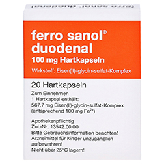Ferro sanol duodenal 100mg 20 Stück N1 - Rückseite