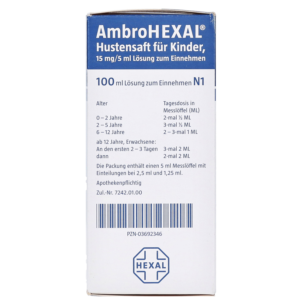 Ambrohexal Hustensaft Fur Kinder 15mg 5ml 100 Milliliter N1 Online