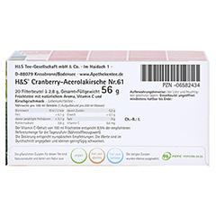 H&S Cranberry Acerolakirsche Filterbeutel 20x2.8 Gramm - Unterseite