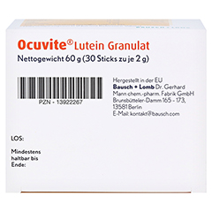 Ocuvite Lutein Granulat Kapseln 30 Stück - Unterseite