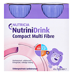NUTRINIDRINK Compact MultiFibre Erdbeere 8x4x125 Milliliter - Vorderseite