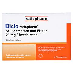Diclo-ratiopharm bei Schmerzen und Fieber 25mg 20 Stück - Vorderseite