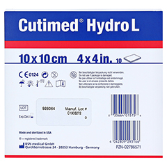 CUTIMED Hydro L Hydrok.Ver.10x10 cm dünn 10 Stück - Rückseite