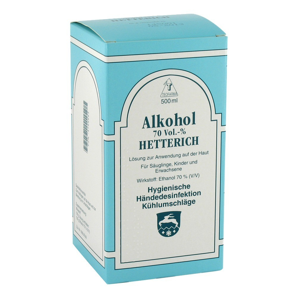 alkohol 70 v v hetterich 500 milliliter online bestellen medpex versandapotheke. Black Bedroom Furniture Sets. Home Design Ideas